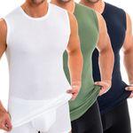 Herren Muskelshirt Rundhals-Ausschnitt weiß / olive / marine 3er Pack