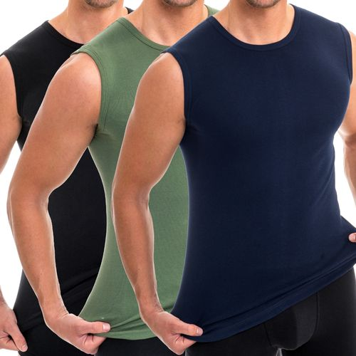 HERMKO 3040 3-pack men's round-neck, tank top vest