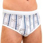HERMKO 3282 3-pack men's classic art printed briefs with fly, 100% organic cotton