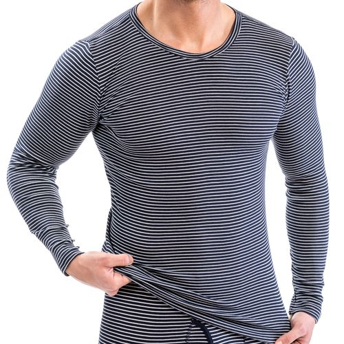 HERMKO 3664005 Men's thermal long sleeve shirt, round neck, made from 67% cotton + 33% polyester