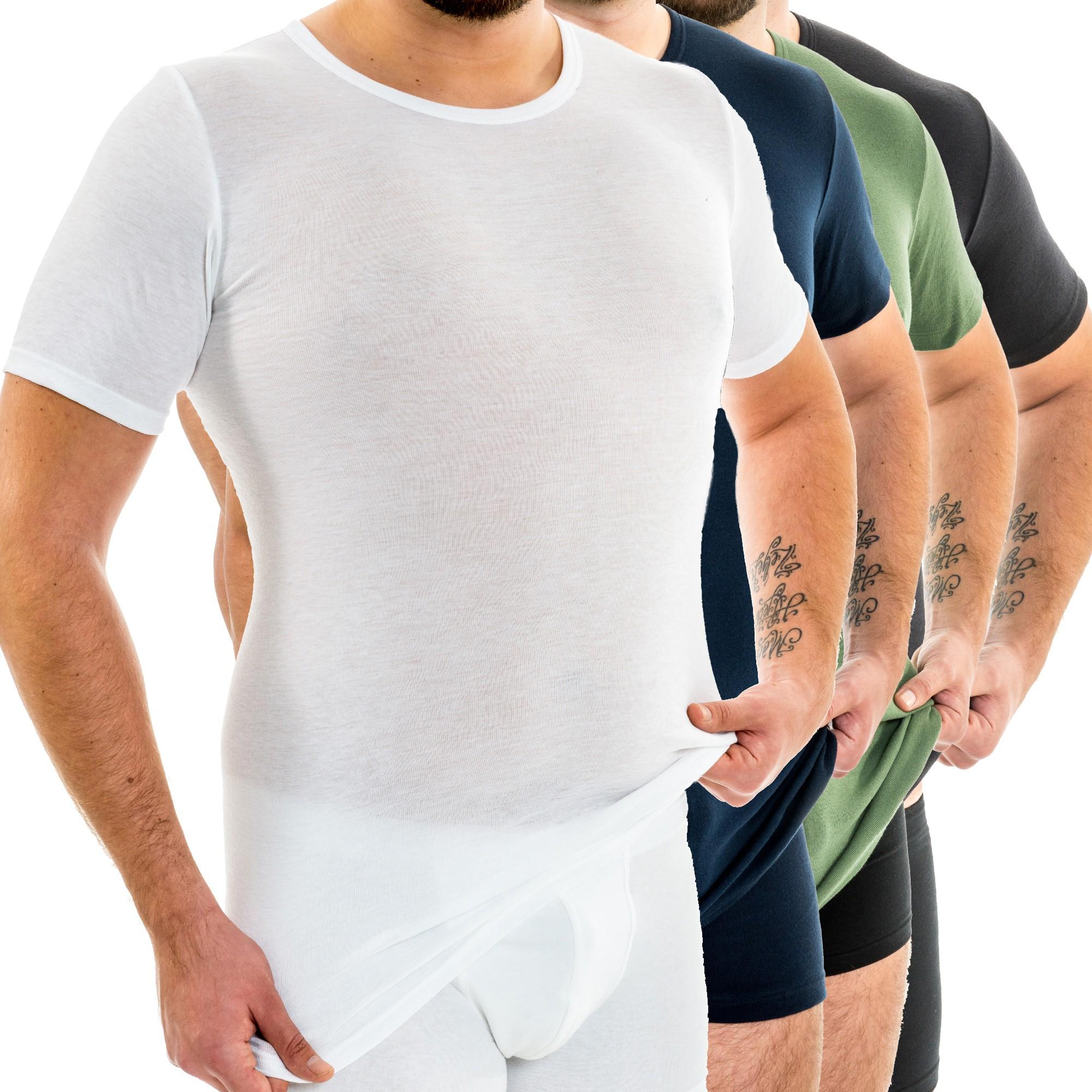 HERMKO 20 Extralanges Herren kurzarm Shirt, Rundhals aus 20  Bio Baumwolle