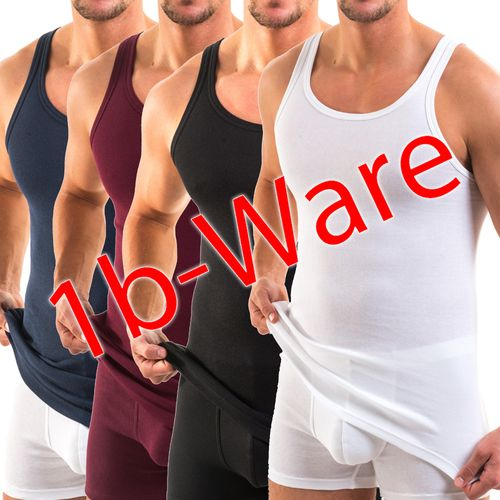 HERMKO 443000 10-pack of men's tank top classic vest, made of 100% bio-cotton, with minor flaws