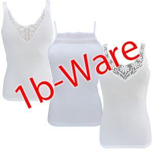 HERMKO 447530 3er Pack Damen Unterhemden 1b-Ware mit kleinen Fehlern mit Spitze aus Modal