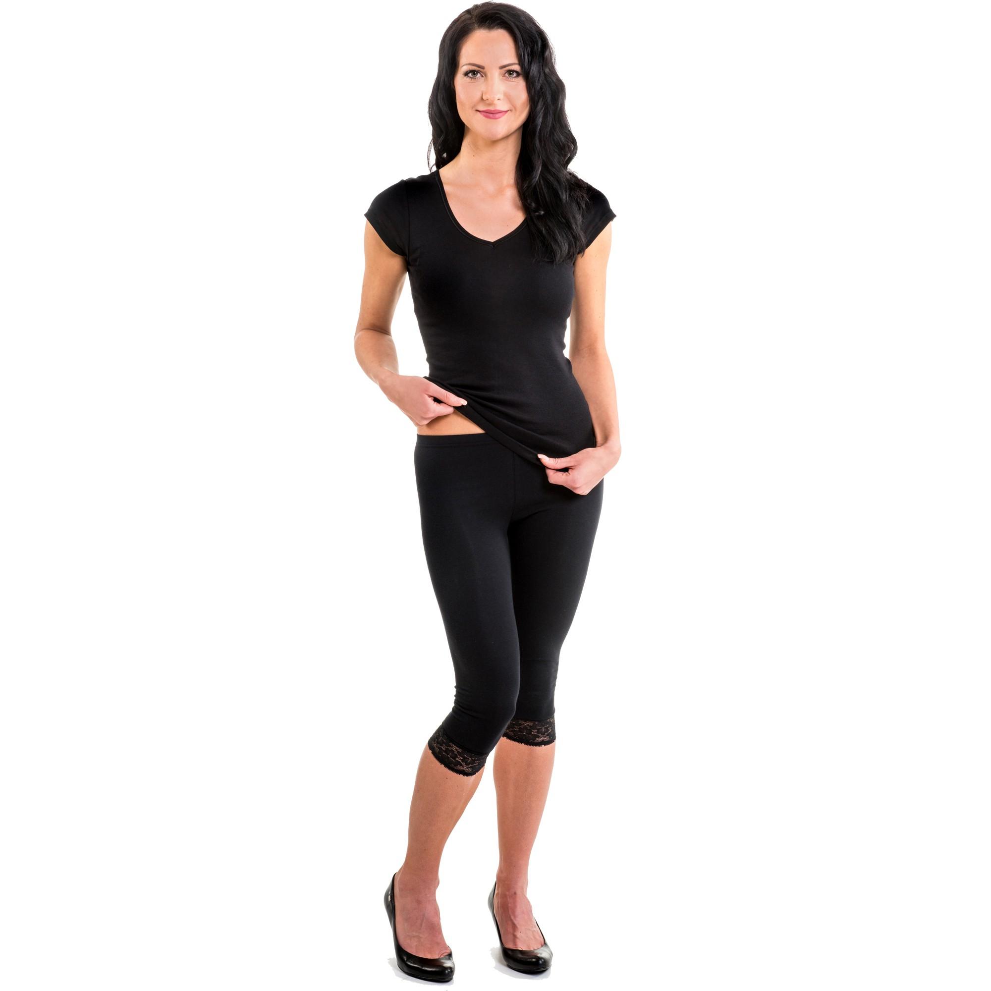 hermko 5722 damen capri leggings mit spitze. Black Bedroom Furniture Sets. Home Design Ideas