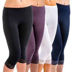 HERMKO 5722 Damen Capri- 3/4 - Leggings mit Spitze – Bild 1