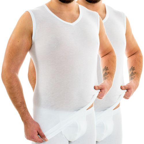 HERMKO 63057 Pack of 2  men's functional shirt extra long (+10 cm) muscle shirt
