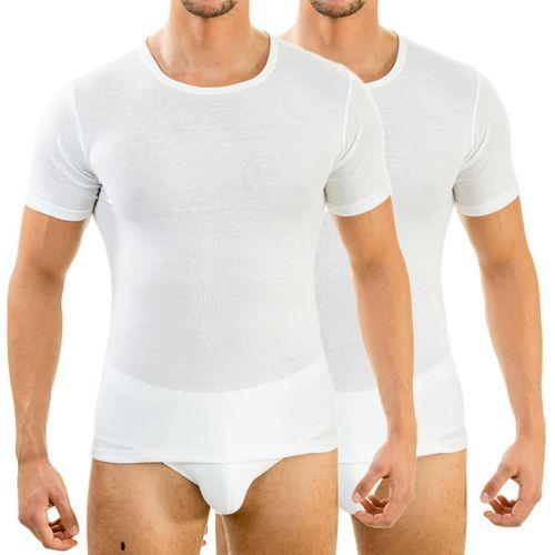 HERMKO 63840  Pack of 2 men's short-sleeved functional shirt, round neck