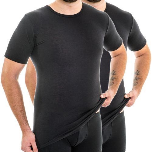 HERMKO 63847 Pack of 2  extra long men's short-sleeved functional shirt, round neck