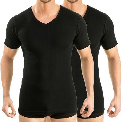 HERMKO 64880 Pack of 2  men's functional shirt, V-neck