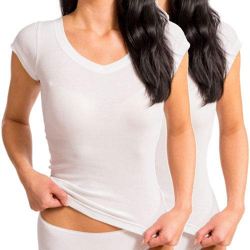 HERMKO 99384920 2-pack V-neck, corset vest with cap-sleeves, no side-seam 100% organic cotton