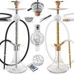 DILAW® SAPHIR Shisha Edelstahl Set Hookah Komplettset Wasserpfeife Molassefänger 001