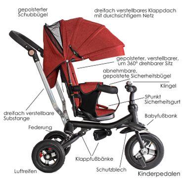 KESSER® Dreirad Kinderdreirad Kinder Lenkstange Dach Fahrrad Baby Kleinkinder – Bild 15