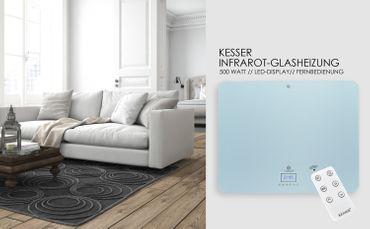 KESSER® Infrarotheizung glas Glasheizung 500- 850 Watt mit Fernbedienung und LCD - Display Timer Wandheizung ✓ Infrarot ✓ Heizung ✓ Heizkörper | Heizpaneel| Inkl.Standfüßen NEU – Bild 7