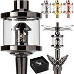 DILAW® Shisha DX1 Glas Molassefänger Edelstahl Wasserpfeife, Vorkühler-Aufsatz für(Schliff 18/8) Zubehör 001
