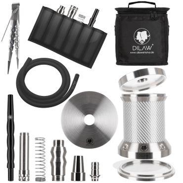 DILAW® Turtle X  Carbon Shisha Aluminium 22cm Hookah to Go ✔4 Anschlüsse mit Tasche | Wasserpfeife | Kaminkopf | Komplettset | Tauchrohr mit Diffusor | Silikonschlauch Alumundstück Tabakkopf – Bild 7