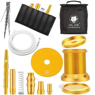 DILAW® Turtle X  Carbon Shisha Aluminium 22cm Hookah to Go ✔4 Anschlüsse mit Tasche | Wasserpfeife | Kaminkopf | Komplettset | Tauchrohr mit Diffusor | Silikonschlauch Alumundstück Tabakkopf – Bild 15