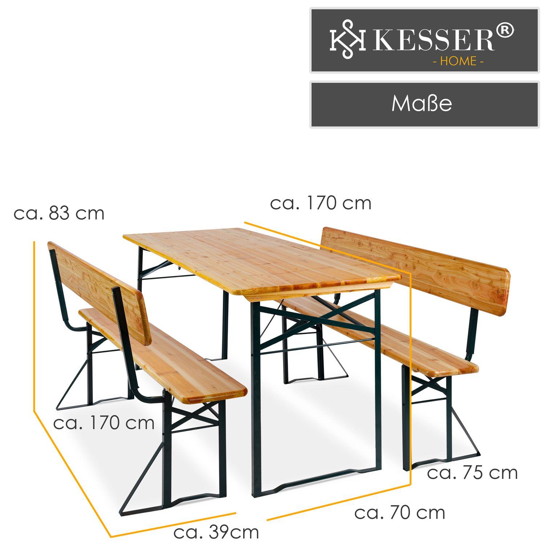 KESSER® Bierzeltgarnitur mit lehne & breiter Tisch 170x70cm   3 teilig Gartenmöbel Set   Klappbar 2X Bierbänke mit Rückenlehne 1x Biertisch  