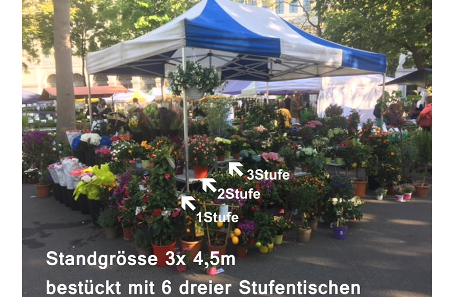 Marktstand auf Blumenmarkt mit 3er Stufentische | BaLich.de