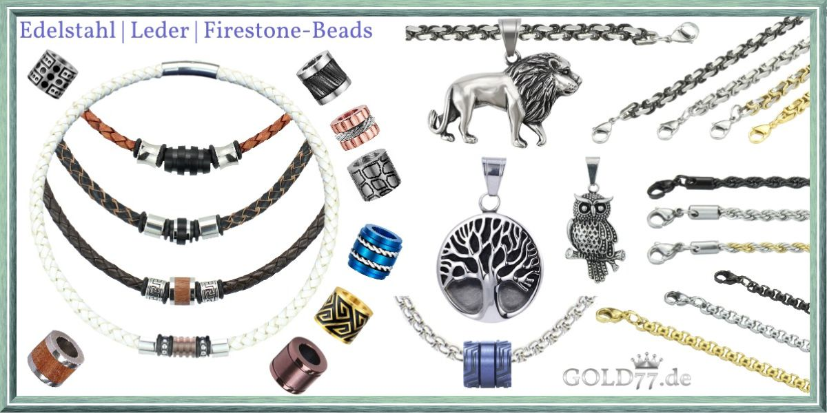 Lederketten mit Firestone-Beads