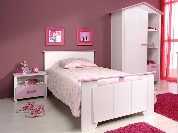 kinderbett beauty 4 mit nachttisch 90x200cm wei rosa lackiert wohnbereiche kinder. Black Bedroom Furniture Sets. Home Design Ideas