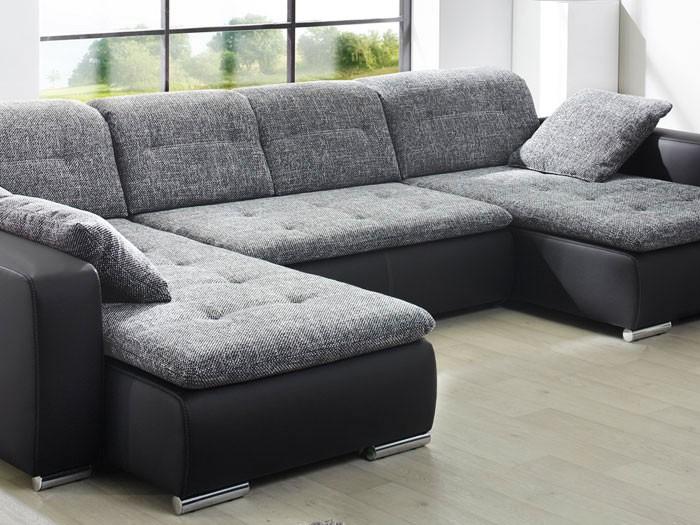 Sofa Couch Ferun 365x200 185cm Webstoff Anthrazit Kunstleder