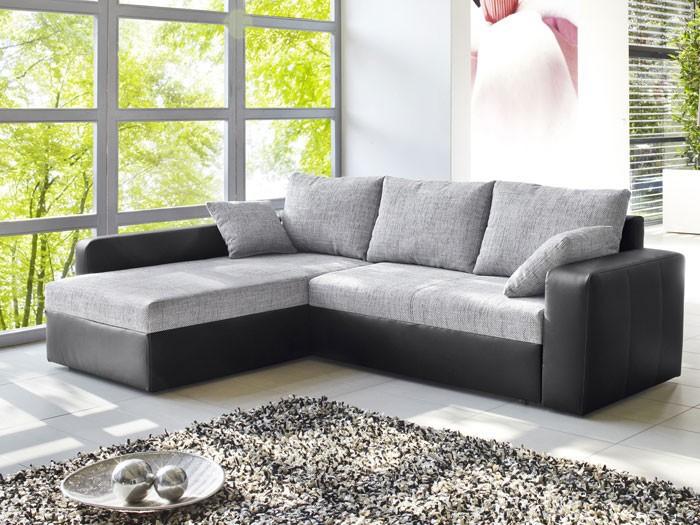 Ecksofa Vida 244x174cm, Webstoff grau , Kunstleder schwarz, Sofa Couch