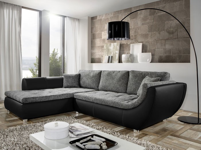 couch avery 287x196cm webstoff anthrazit kunstleder. Black Bedroom Furniture Sets. Home Design Ideas