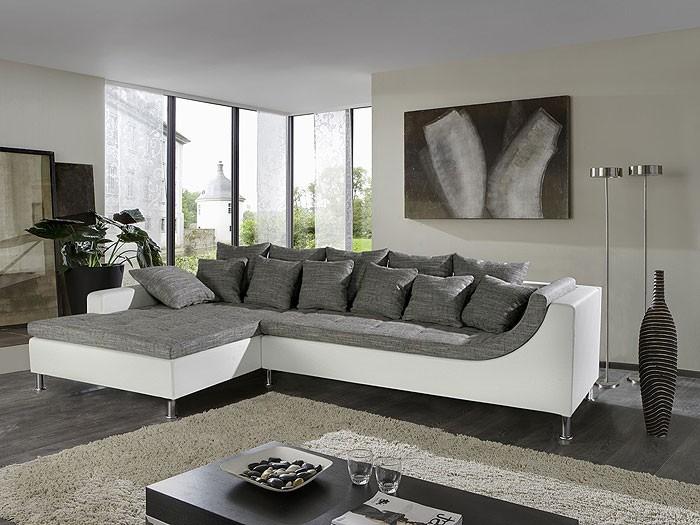 Wohnzimmer Eckcouch, eckcouch madeleine, 326x213cm, webstoff weiß-schwarz, kunstl. weiß, Design ideen