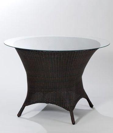 Tisch rund Stelios 110x75cm, Kunstfaser Esstisch Gartentisch Rundtisch