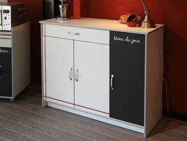 Küchenschrank, Anrichte Cosina 3, 116x90x44cm, weiß Abs. Alu