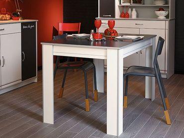 Küchentisch, Esstisch Cosina 5, 120x77x80cm, weiß grau Absetzung Alu
