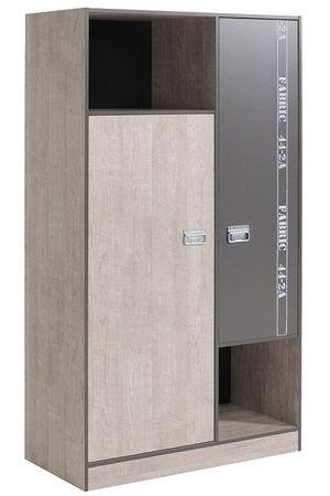 Kleiderschrank Fabien 6, 101x182x51cm, Esche-Grau, Drehtürenschrank