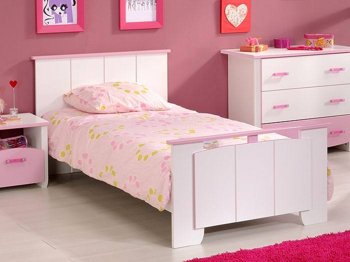 kinderbett beauty 12 wei rosa 90x200cm kinderzimmer wohnbereiche schlafzimmer betten. Black Bedroom Furniture Sets. Home Design Ideas