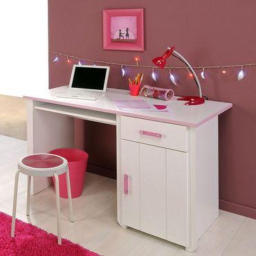 Schreibtisch Beauty 8, 121x77x65cm weiß rosa, Bürotisch