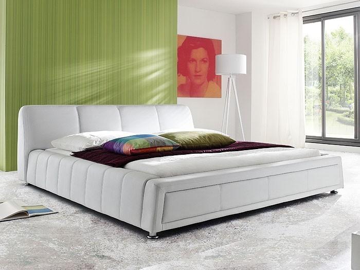polsterbett aron bett 180x200cm weiss kunstleder bettgestell doppelbett wohnbereiche. Black Bedroom Furniture Sets. Home Design Ideas