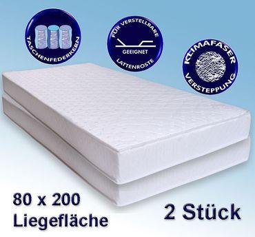 2 Matratzen Avance 80x200cm, Taschenfederkern, 2er-Set, Härtegrad 2