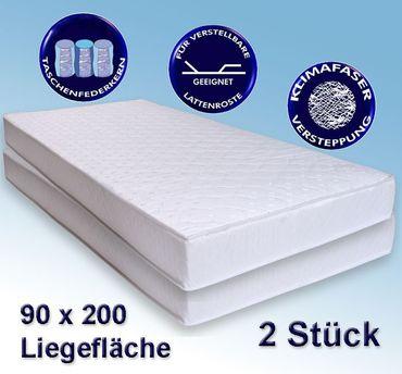 2 Matratzen Avance 90x200cm, Taschenfederkern, 2er-Set, Härtegrad 2