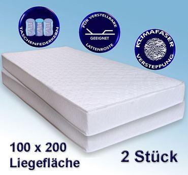 2 Matratzen Avance 100x200cm, Taschenfederkern, 2er-Set, Härtegrad 2