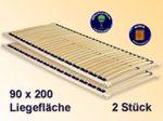 2 Lattenrost Duplex 90x200 cm Lattenrahmen für Bettgestelle, 2er-Set 001