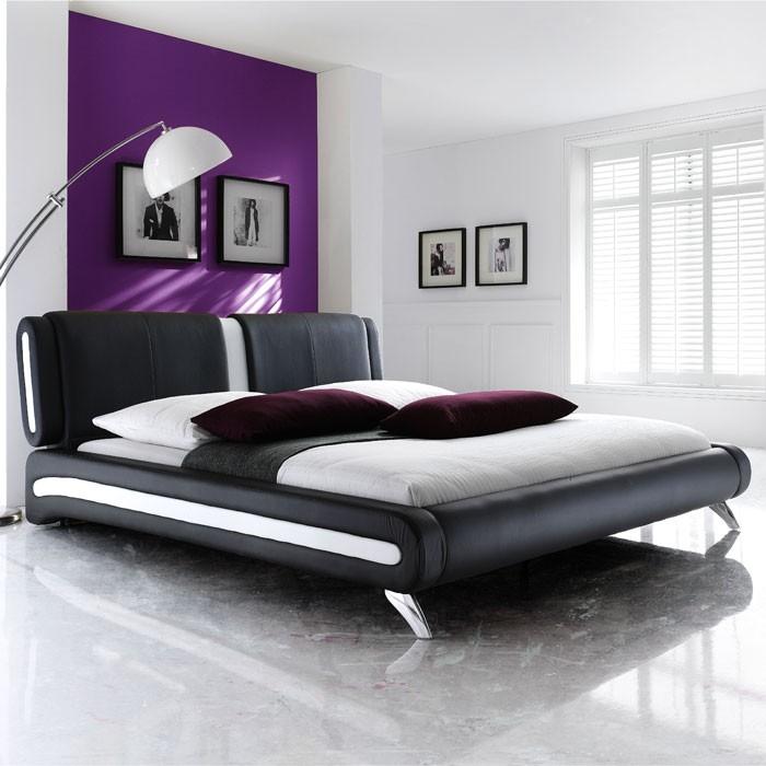 Polsterbett komplett Malin Bett 140x200 schwarz + Lattenrost + ...