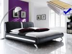 Polsterbett komplett Malin Bett 160x200 schwarz + Lattenrost + Matratze 001