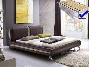 Polsterbett komplett Malin Bett 160x200 braun + Lattenrost + Matratze