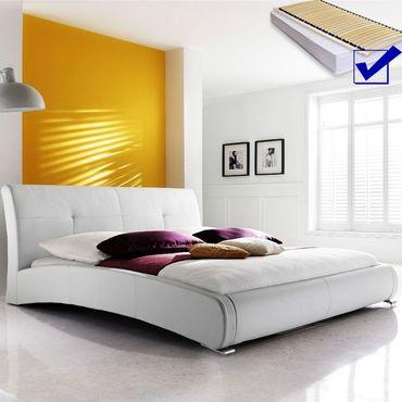 Polsterbett komplett Amadeo Bett 140x200 cm weiß + Lattenrost + ...