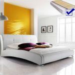 Polsterbett komplett Amadeo Bett 140x200 cm weiß + Lattenrost + Matratze 001