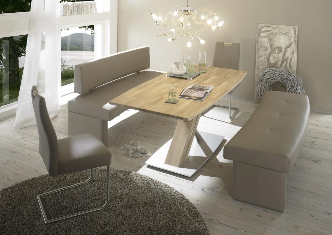Hochwertiger Säulentisch Ataro 1XL Ausziehbar Esstisch Massivholz Bootsform  Säule C X Form Holztisch Varianten U2013