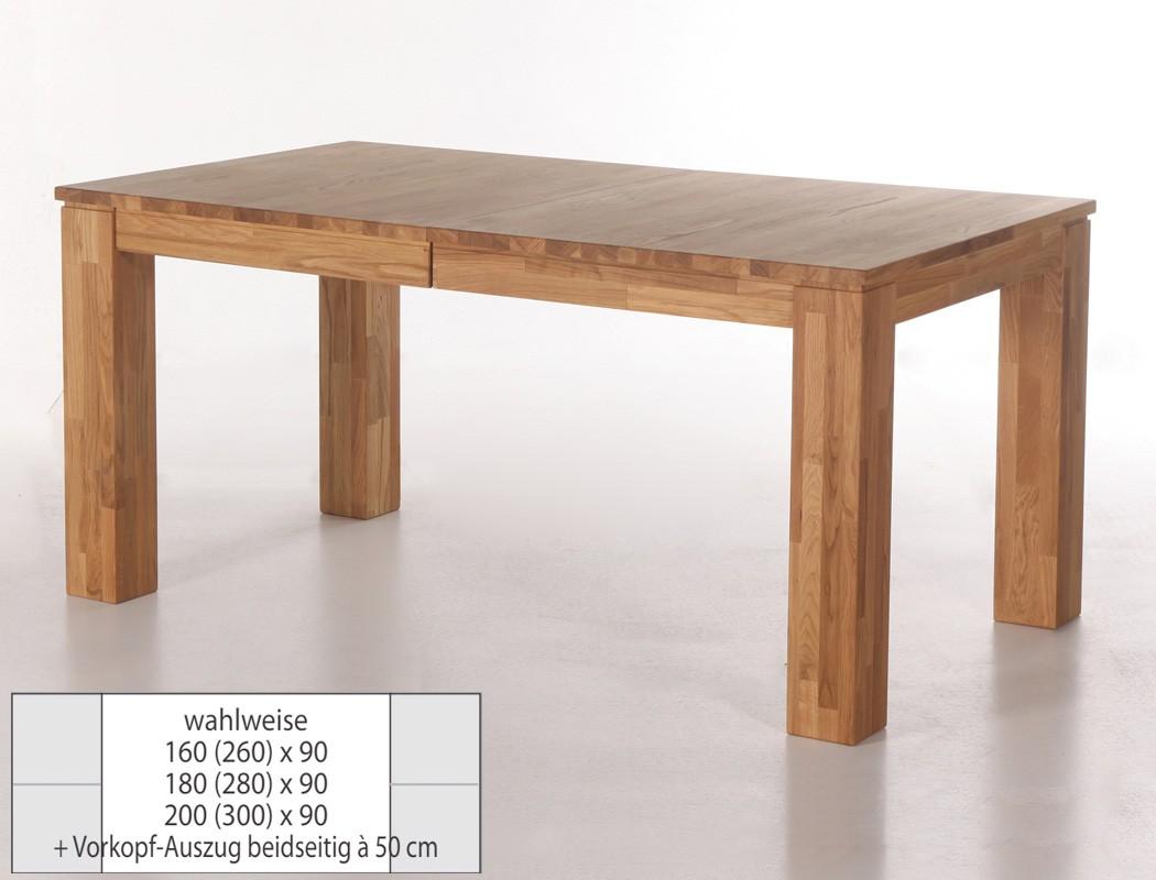 eichetisch harrow 2xl esstisch ausziehbar massivholz vorkopfauszug wohnbereiche esszimmer esstische. Black Bedroom Furniture Sets. Home Design Ideas