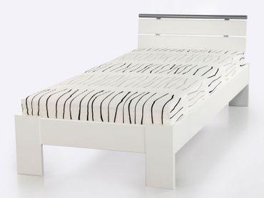 Jugendbett Cortina 90x200cm weiss, Bett komplett + Rollrost + Matratze