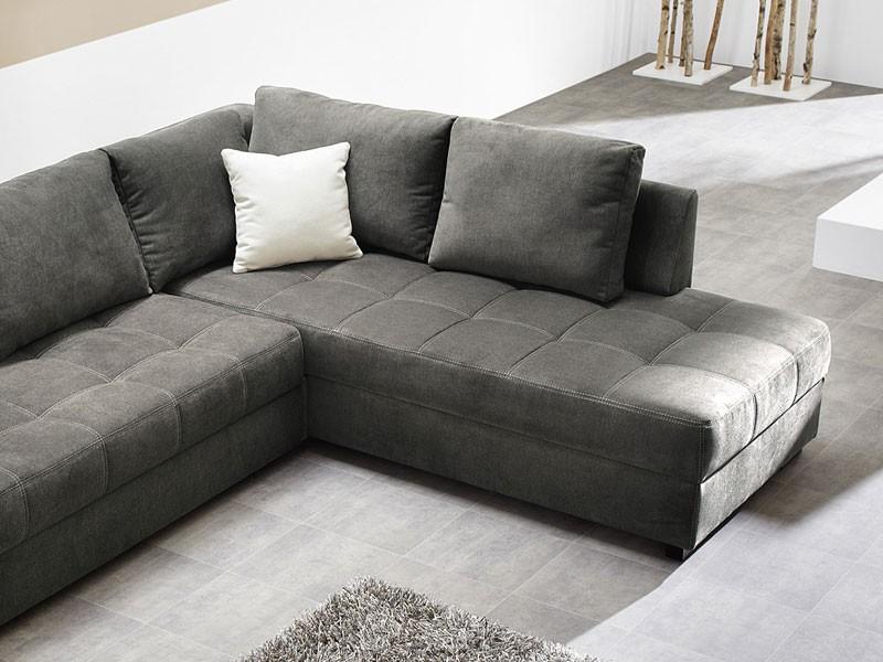 Polsterecke Aurum 267x221cm Mikrofaser grau Bettfunktion Sofa Couch ...