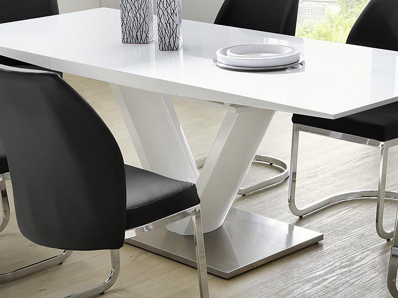 Säulentisch Vasco 160(220)x90x77 Cm Hochglanz Weiß Esstisch Ausziehbar  Eckbanktisch Küchentisch U2013 Bild