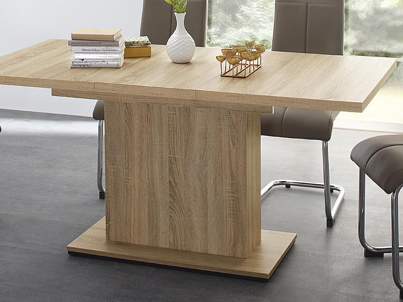 Esszimmer Tische Ausziehbar esstisch 120 160 x80x76cm eiche sägerau säulentisch